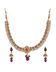 Ganapathy Gems 1 Gram Gold Plated Traditional South Indian Temple Jewellery Set With Pearls. - B00SV4TT18