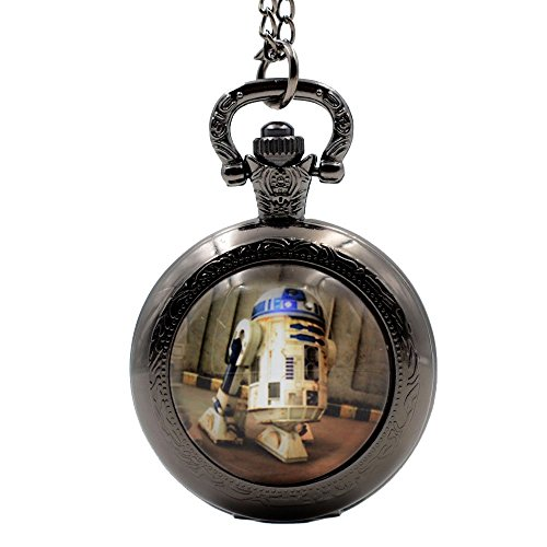 Steampunk Vintage Quartz Pocket Watch Movie Star Wars Robot R2D2 Necklace Chain Pendant for Men Boys (Robot Watch Vintage compare prices)