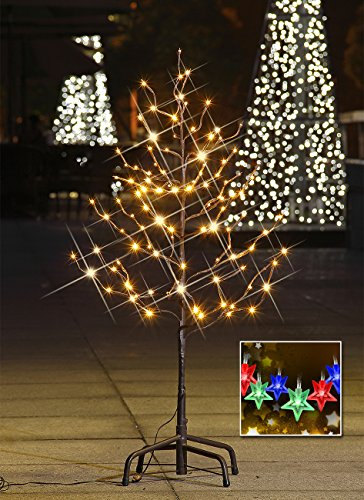 Lightshare™ Update 3Ft 112L Led Star Light Tree,+Free Gift:10L Led Star Twinkling(Rgb)Decoration Light,Home/Festival/Party/Christmas,Indoor And Outdoor Use,Warm White