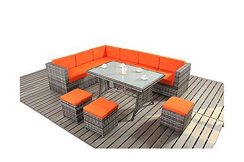Avignon Garten Möbel grau und orange Ecksofa Esstisch Set