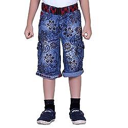 Naveens Light Blue 3/4 Th Printed Capri for Boys_ 9-10 Years
