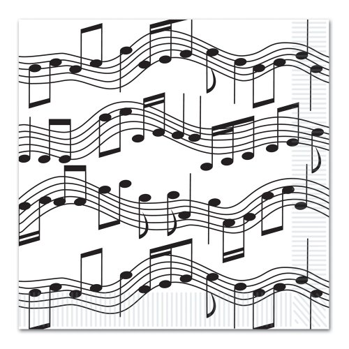 Music Notes Dinner Napkins : package of 16