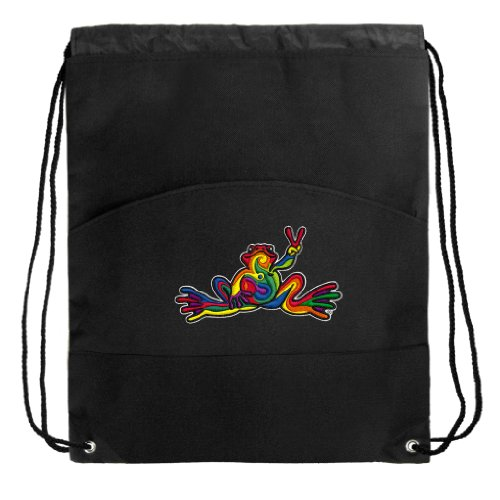 Peace Frogs Drawstring Bag Cinch Super Cool Draw String Back Pack Bag front-942261