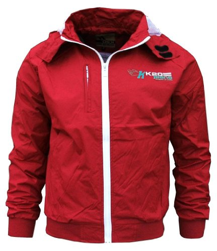K20 Jeans Sonic Men's Lightweight Sports Rain Wind Jacket red / white Extra Large