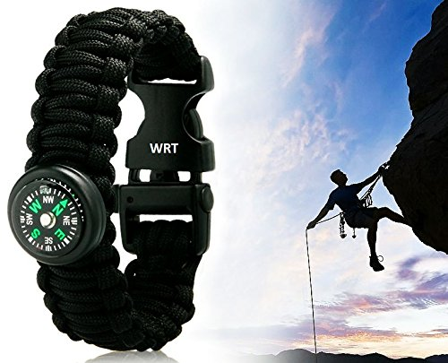 WRT Outdoor Survival Paracord Bracelet with Compass, Flint/Steel, and Whistle for Backpacking, Hiking, Climbing, Hunting, the Outdoors, and More! (Black, Medium (10inch))