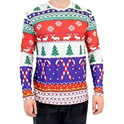 Festive Candy Canes Pattern Long Sleeve Ugly Christmas T-Shirt (Medium)