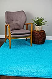 Turquoise Shag 5\'2x7\'2 Area Rug Carpet Large New