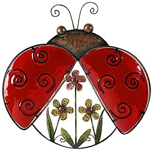 Gift Craft 14.4-Inch Painted Glass and Iron Ladybug Design Wall Plaque, Medium (Discontinued by Manufacturer)