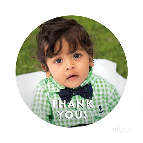 Andaz Press Photo Personalized Thank You Favor Gift Labels, Circle Stickers, Modern Style, 40-Pack - CUSTOM MADE ANY IMAGE (Personalized Party Stickers compare prices)
