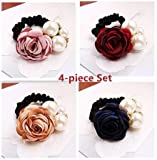 Blingys Pearl Flower Silk Bands/Bowknot Hair Bands/Hair Flowers/Rubber Bands/Hair Ropes/Ponytails (4 Piece Combo Set) With Blingys Bag