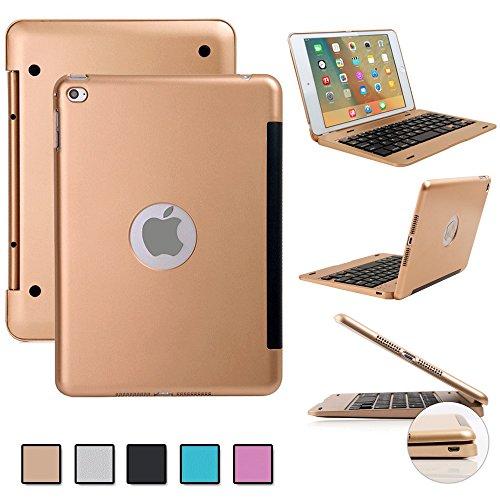F.G.S ゴールド iPad mini 4 Bluetooth キーボード ケース iPad mini 4がノートパソコンに変身! ipad mini 4 ワイヤレスキーボード [JP配列/US配列両方対応] 超薄型 Bluetooth キーボード Micro USBケーブル/日本語取扱説明書付き スタンド機能付き F.G.S正規代理品