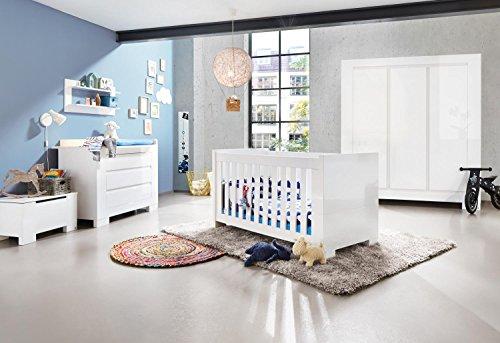 Pinolino-Kinderzimmer-Sky-breit-gro-3-teilig-Kinderbett-140-x-70-cm-breite-Wickelkommode-mit-Wickelaufsatz-und-groem-Kleiderschrank-wei-Hochglanz-Art-Nr-10-34-98-BG