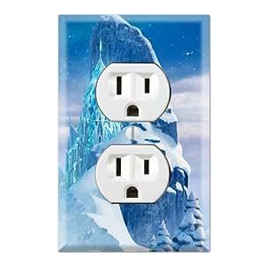 frozen decorative duplex outlet wall plate cover. Black Bedroom Furniture Sets. Home Design Ideas
