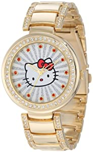 Hello Kitty Women's H3WL1046GD Gold-Tone Case and Bracelet Accent Ribbed Ray Watch