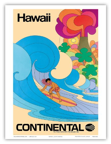 continental-airlines-hawaii-hawaiian-surfer-psychedelic-flower-power-art-vintage-hawaiian-travel-pos