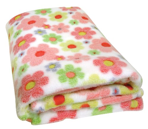 Stephan Baby Super Soft Flannel-Soft Fleece Crib Blanket, Swirly Flower