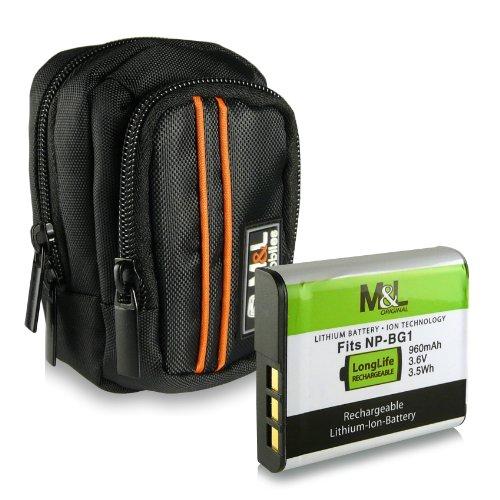 Bundle - M&L Mobiles Tasche für Digitalkameras - Farbe: schwarz + Akku NP-BG1 für Sony Cybershot DSC-W50 | H70 | HX7V | H55 | HX5V | H90 | HX10V | W110 | W115 | W120 | W130 | W55 | W70 | W30 | T20 | T25 | W35 | WX1 | W200 | W80 | W85 | W90 | T100 | W170 | W300 | W100 | WX10 | W210 | W220 | W230 | N2 | N1 | W270 | W290 | W220 | W150