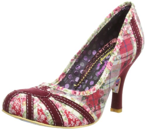 Irregular Choice Womens Patty Red/Floral/Check Court Shoes 3614-14 6.5 UK, 40 EU