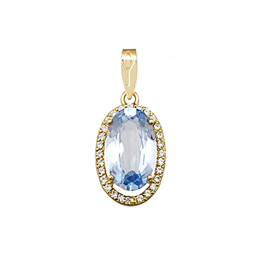 18k gold oval pendant 14mm. aquamarine stone zircons [AA4881]