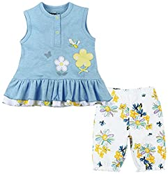 Sleeveless Front Open Top And Bottom Set With Frills - Blue/White (3-6 Months)