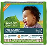 Seventh Generation Free and Clear, Unbleached Baby Diapers, Size 3, 155 Count, Packaging May Vary