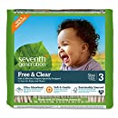 Seventh Generation Free and Clear Sensitive Skin Baby Diapers, Original Unprinted, Size 3, 155 Count