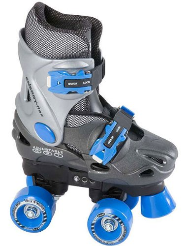 Roller Derby Trans 400 Adjustable Quad Skates - Boys - Grey/blue - Size Medium (Uk11jnr - Uk13jnr)