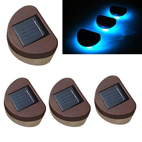 De-Spark 4 Pack Solar Fence Lights Lamps With 2 Led Bulbs Brown Shell For Garden (Blue)