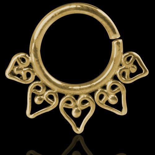 Septum Piercing Orientale da Setto Nasale in Argento Septum Ring Indian Ornamental Silver Gold Cuori