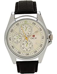 "Dice ""Elite"" Chrono Dial-Face Wrist Watch For Men. Fitted With Off-White/Cream Color Dial And Anti- Allergic Leather..."