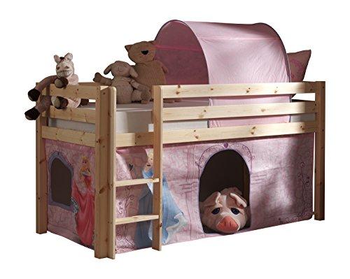 Vipack PICOHSZG1055 Pino Lit Mezzanine et Housse Disney Princess Pin Massif Nature