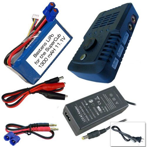 Bastens LiPo 11.1V 1300mAH battery and balance charger kit for Hobby Zone Super Cub