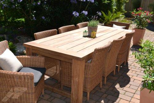 Teak-Sitzgruppe-Garten-Garnitur-Tisch-240x100-und-8-Sessel-Sthle-Rattan-und-recyceltes-Teak-Java-Kor