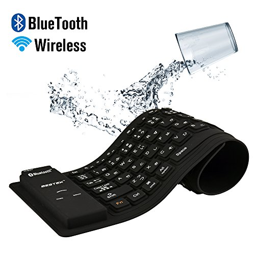 BESTEK® Bluetooth キーボード 巻取シリコン 超薄・静音・防水・防塵 折りたたみ式 ワイヤレス ブルートゥースキーボード iPad/iPhone/Android/アンドロイド/スマホ/タブレット/パソコン適用 wireless bluetooth keyboard
