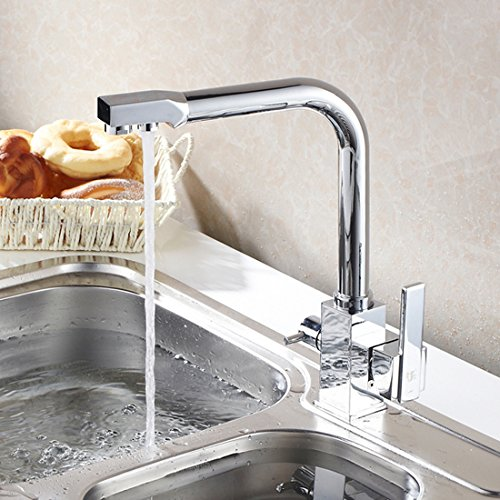brushed chrome finish drinking washing water spout tri flow double handle control kitchen sink. Black Bedroom Furniture Sets. Home Design Ideas