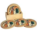 Handicraft Paradise Real Gemstone Pine Wood Ragini With Dancing Peacock Design Round Coaster