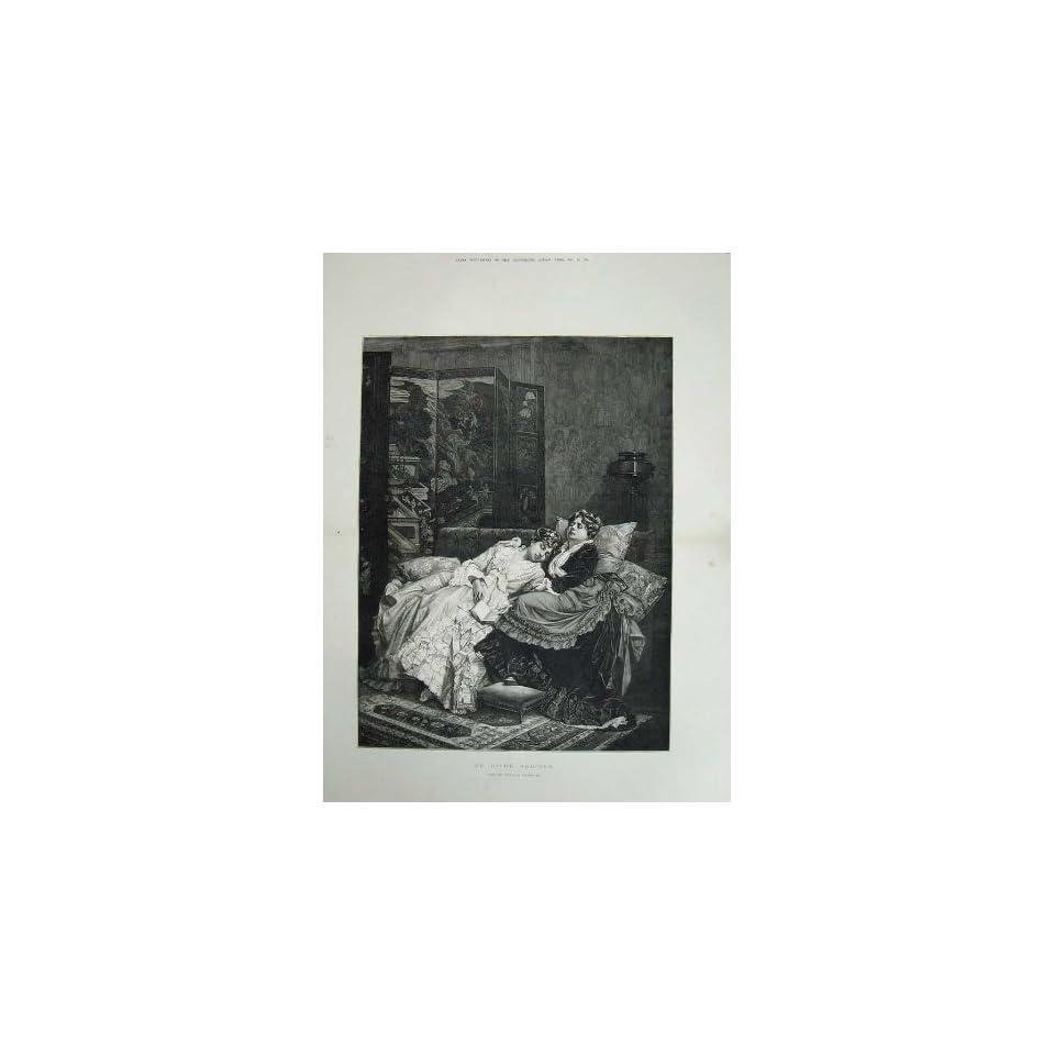 1884 Morris Fine Art Little Girls Doorstep Kitten Dog