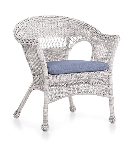 All-Weather Resin Outdoor Easy Care Wicker Chair, In White image