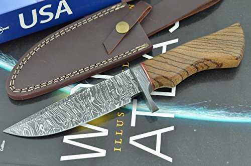 Unforgettable Christmas Gift by ColdLand Knives | Handmade Damascus Steel 10.50 Inches Bowie Hunting Knife with Exotic Zebrawood Wood Handle