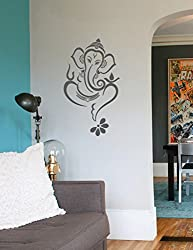 WallDesign Floral Ganesha Grey Wall Sticker