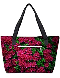 Pack Of 2 Red And Green Leaves Combo Tote Shopping Grocery Bag With Coin Pencil Purse