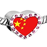 Pugster Pink Swarovski Crystal China Flag photo Heart Silver Plated Beads Fits Pandora Charm Chamilia Biagi Bracelet