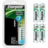 ENERGIZER CHFC Family Universal Battery Charger For AA,AAA,C,D, 9V 3 HRS COMBO w/ 4x AA Energizer NH15 rechargeable batteries