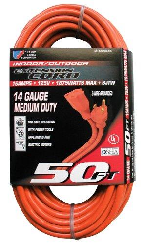US Wire 63050 14/3 50-Foot SJTW Orange Medium Duty Extension Cord