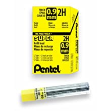 Pentel Super Hi-Polymer Lead Refill, 0.9mm  Thick, 2H, 180 Pieces of Lead (50-9-2H)