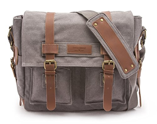 Sweetbriar Classic Laptop Messenger Bag, Gray - Canvas Pack Designed to Protect Laptops up to 13 Inches