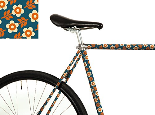 """MOOXI-BIKE Fahrrad-Folie """"Bonnie & Buttermilk (Bini Blau)"""" – Dein Rad mit Retro-Blumenmuster (ausreichend für Teilbereiche)"""