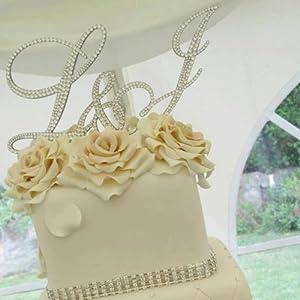 Personalised Monogram wedding cake toppers with swarovski ...