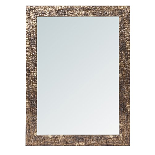 999Store fiber framed decorative wall mirror or bathroom mirror golden brown (24x18 Inches)