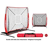 PowerNet Baseball and Softball Practice Net 5 x 5 (Bundle with Strike Zone and Training Ball + LIFETIME WARRANTY)